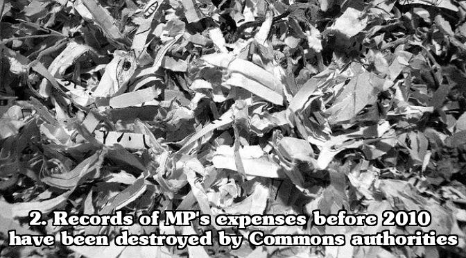 MP expenses scandal - Expense claims shredded